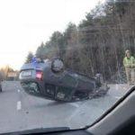 На Советском тракте произошло ДТП: одна из машин перевернулась