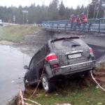 В Белохолуницком районе «Тойота» не вписалась в поворот и угодила в реку