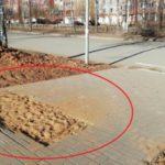 В Кирове неизвестные украли брусчатку прямо из центра тротуара