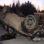 Появилось видео аварии с перевернувшимся на трассе автомобилем Nissan Patrol