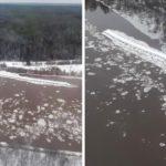 В Кировской области спасатели обнаружили понтонные мосты, сорванные накануне шугоходом