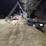 В Котельничском районе пьяный водитель «ВАЗа» врезался в опору дорожного знака