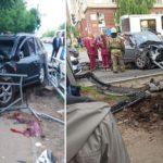 В Кирове столкнулись две иномарки: одна из машин вылетела на тротуар